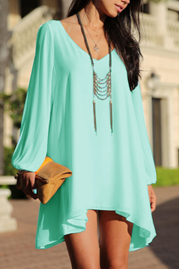 Light Green V-neck Cold Shoulder Chiffon Dress
