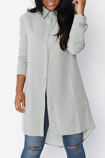 Grey Chiffon Single Breasted Long Sleeves Shirts