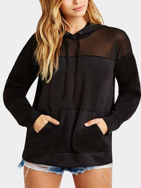 Mesh Insert Long Sleeve Sweatshirt with Hood