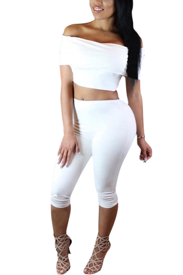 White Bodycon Off Shoulder Co-ord