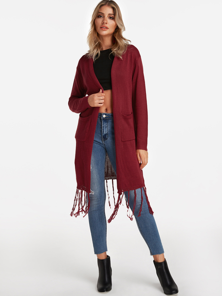 Burgundy Side Pockets Long Sleeves Tassel Hem Long Cardigans