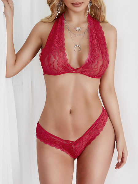 Rose Delicate Sheer Lace Lingerie Set