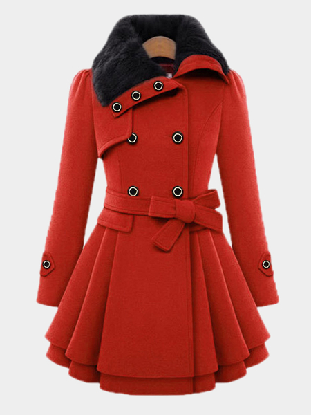 Red Thicker Double Breasted Tweed Coat with Belt