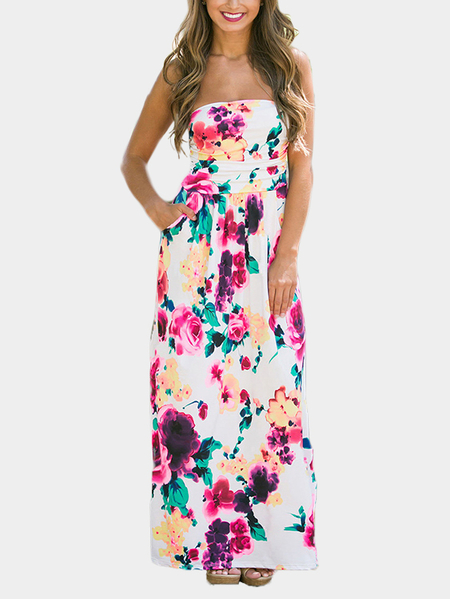 Off Shoulder Random Floral Print Maxi Dress