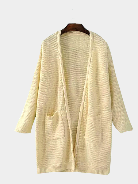 Long Sleeve Knitted Cardigan in Beige