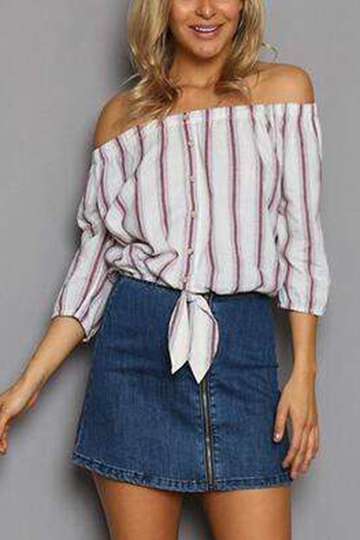 Red Sexy Off Shoulder Stripe Padrão 3/4 Length Sleeves Shirt