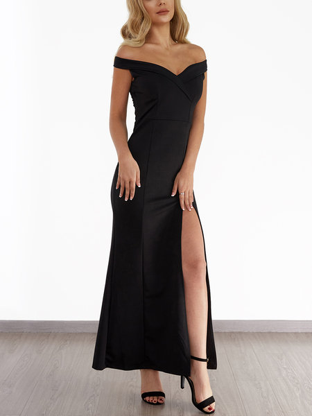Black Off Shoulder Splited Hem Maxi Dress