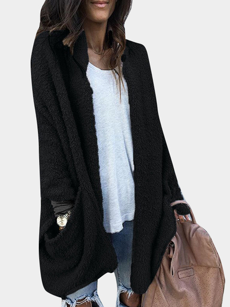 Black Collarless Open Front Long Sleeves Two Large Pockets Sweaters Coat