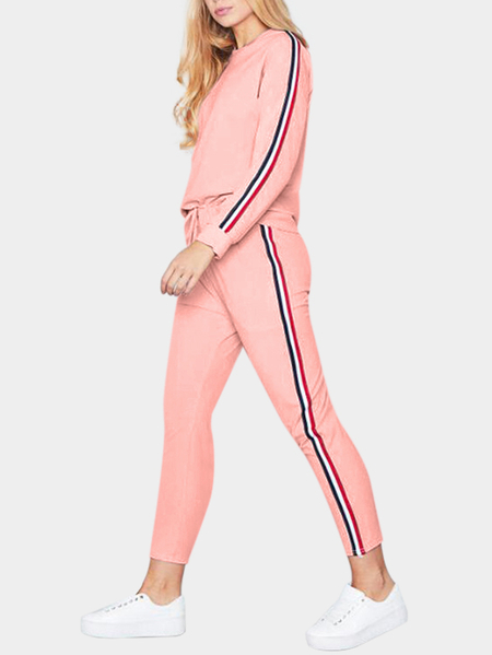 Pink Stripe Round Neck Long Sleeves Drawstring Waist Active Suit