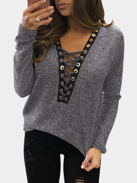 Sexy Deep V-neck Lace-up Front Casual T-shirts in Heather Grey