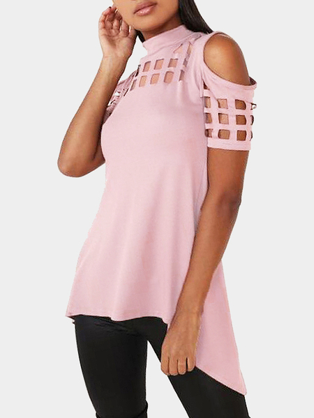 Pink Cold Shoulder Cut Out Hollow Splited Hem Back T-shirts