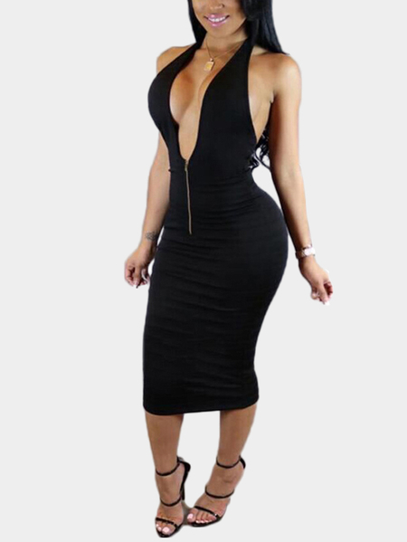 Black Sexy Backless Halter Dress with Zip Front Design