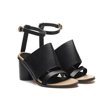 Black Leather Look Peep Toe Round Heel Ankle Strap Sandals