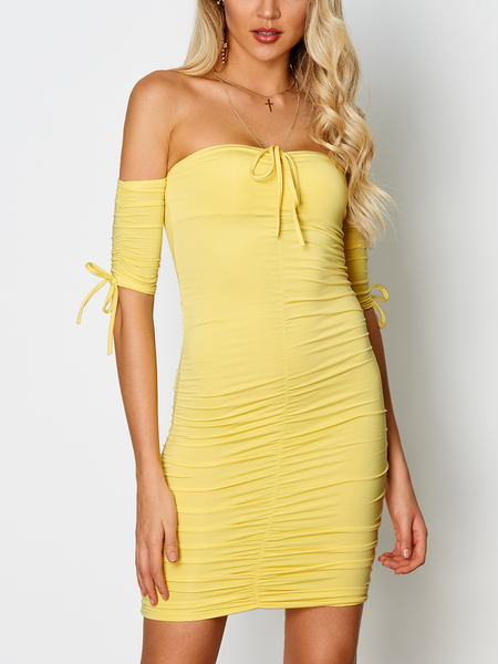Yellow Sexy Backless Pleated design Bateau Short Sleeves Mini Dress