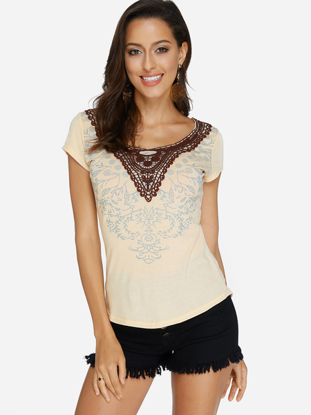Khaki Crochet Lace Embellished Floral Print Round Neck Short Sleeves Top
