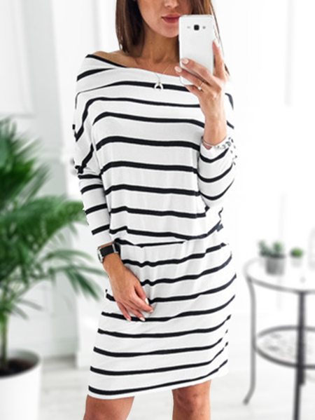 Black & White Stripe Side Pockets Self-tie Off Shoulder Dress