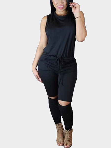 Casual Knit Sleeveless Jumpsuit in Black