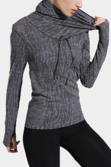 Active Pullover Neck Quick Drying Stretchy Sports Hoodies with Mitten in Grey