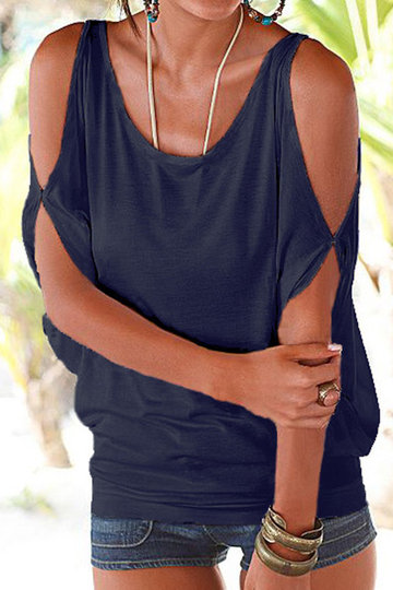 Navy Scoop Neck Cold Shoulder Tie-up at Back Tee