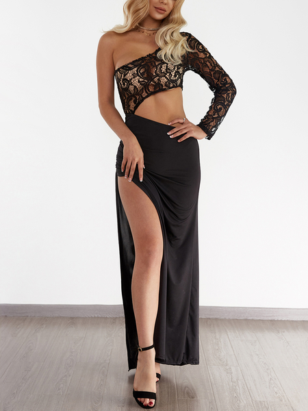 Black One Shoulder lace Cutout Waist Leg Slit Asymmetrical Maxi Dress