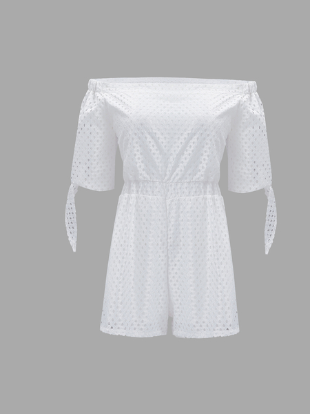 White Fashion Off Shoulder Hollow Out Playsuit with 3/4 Length Sleeves