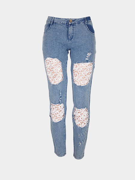 Blue Fashion Lace Details Bodycon Ripped Jeans