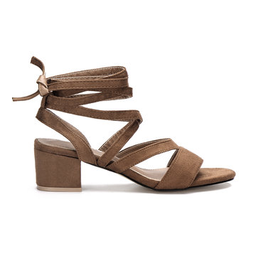 Brown Cross Straps Tie Fastening Block Heel Sandals