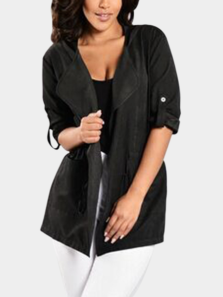 Black Hooded Design Long Sleeves Drawstring Waist Outerwear