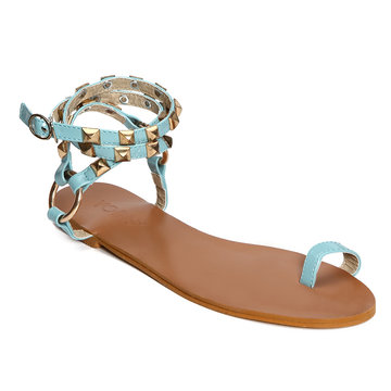 Blue Ring Toe Rivet Embellished Sandals
