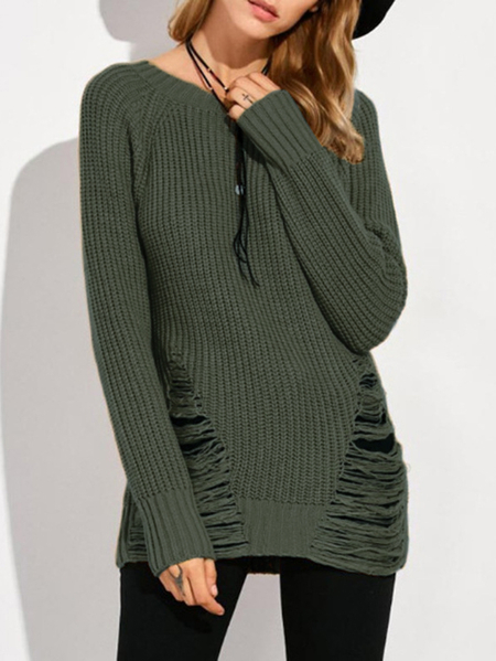 Army Green Ripped Details Round Neck Sweater