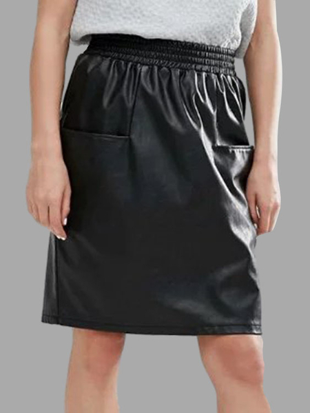 Black Artificial Leather Elastic Waist Front Pockets Mini Slirt
