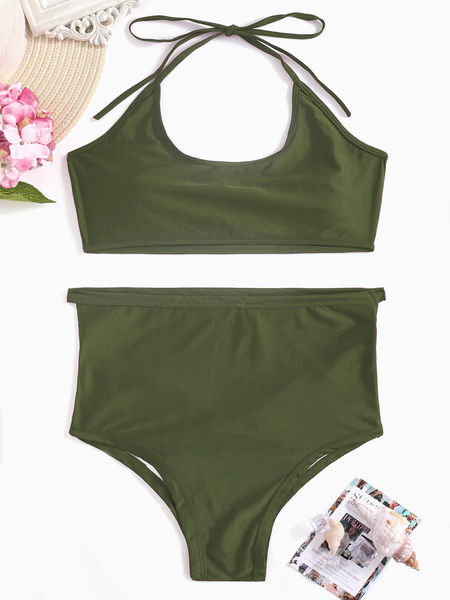 Cutout Hollow Design Bikini Set in Army Green