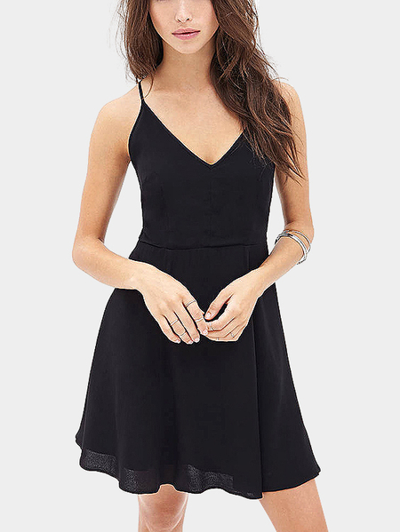 Black Cami Dress With Self Tie Back
