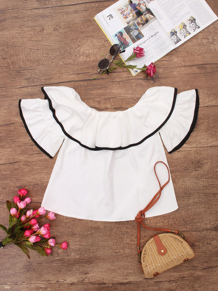 White Off Shoulder Tiered Design Shirt
