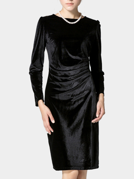 Black Long Sleeve Body-Conscious Velvet Dress
