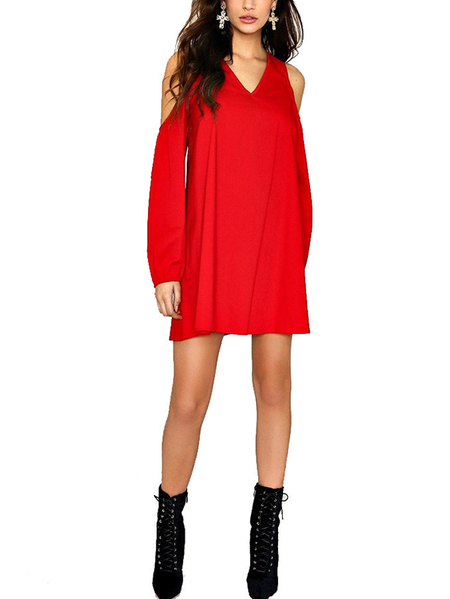 Red V-neck Cold Shoulder Long Sleeves Dress