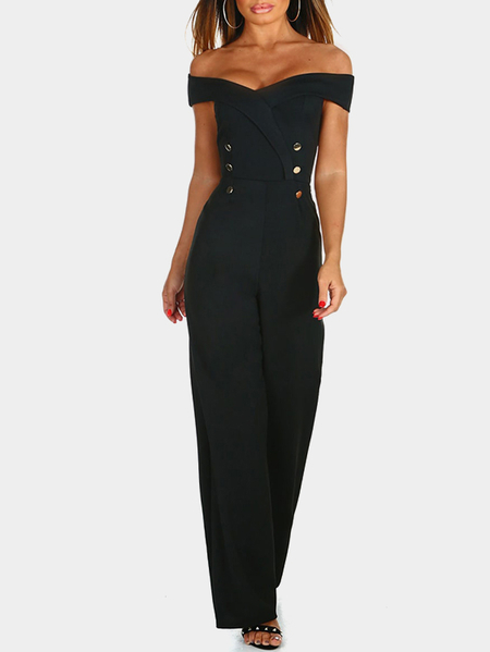 Black Off The Shoulder High-waisted Jumpsuit