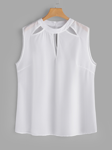 White Hollow Out Round Neck Sleeveless Tank
