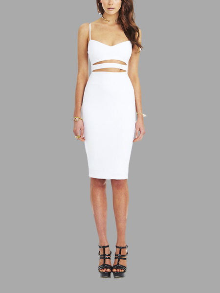 White Midi Sleeveless Cut Out Midi Dress