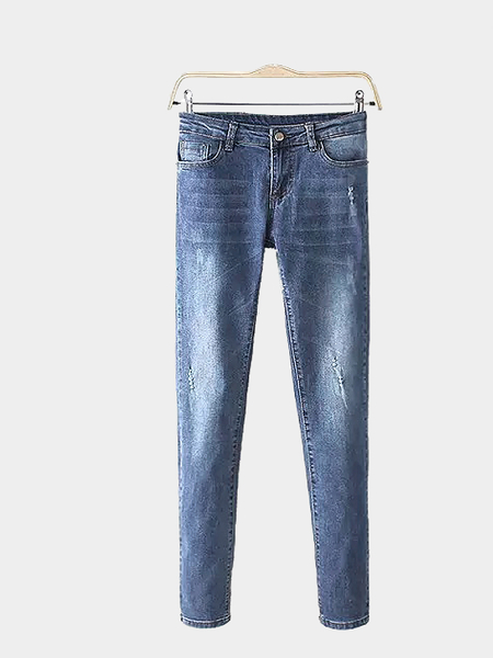 Skinny Jeans Distressed em Wash Blue
