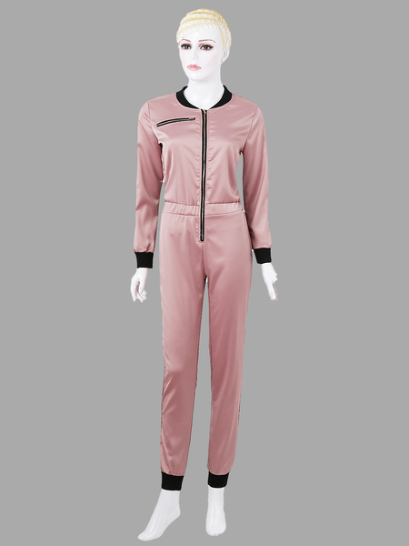 Pink Fashion Zipper Design Long Sleeves Jumpsuit