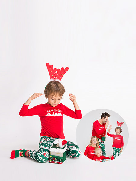Red Printed Family Matching Christmas Pajamas Sets - Kids