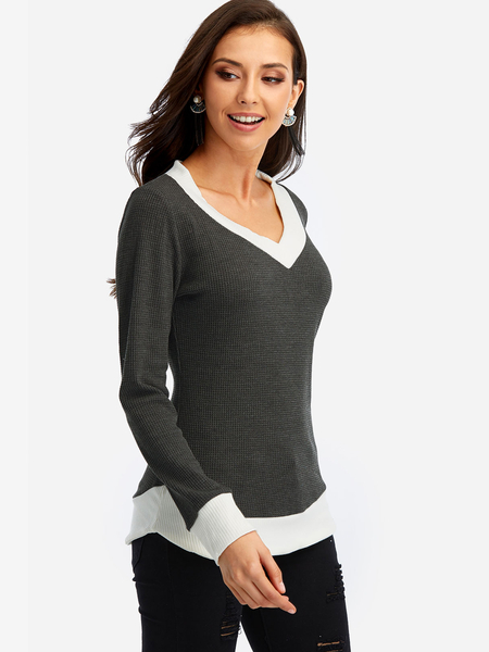 Grey V Neck Long Sleeves T-shirt