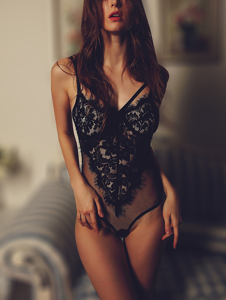 Black Sheer Lace Spaghetti Teddy Bodysuit