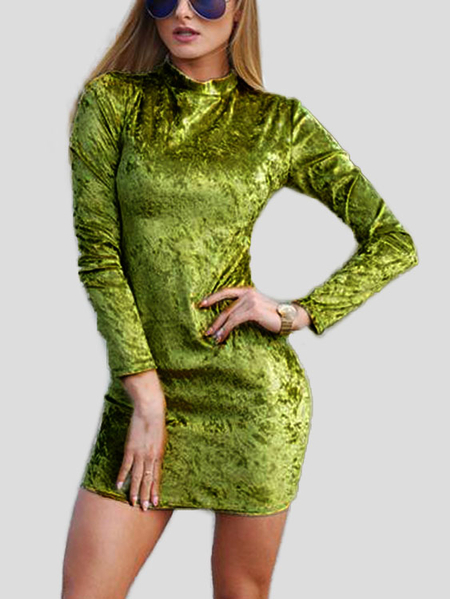 Green Long Sleeves Bodycon Mini Dresses