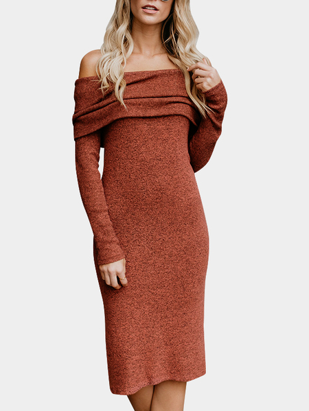 Orange Off Shoulder Long Sleeves Splited Hem Sexy Midi Dress