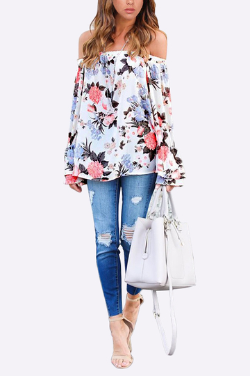 Floral Print Elastic Off-The-Shoulder Bell Sleeve Top