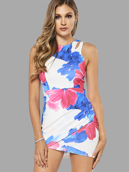 Warp Front Sleeveless Floral Print Mini Dress with Zip Back Fastening