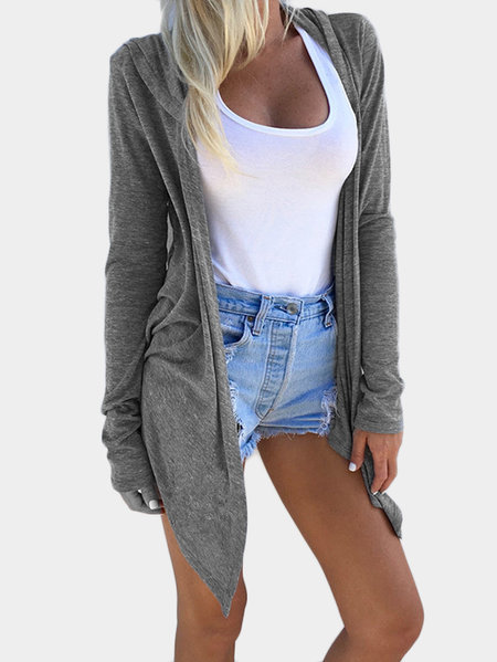 Grey Hooded Design Long Sleeves Cardigan