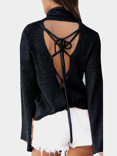 Black Roll Neck Dolman Sleeve Criss-cross Open Back Knitwear with Lace-up Design